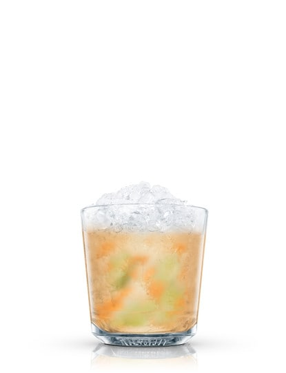 absolut mango and orange caipiroska against white background
