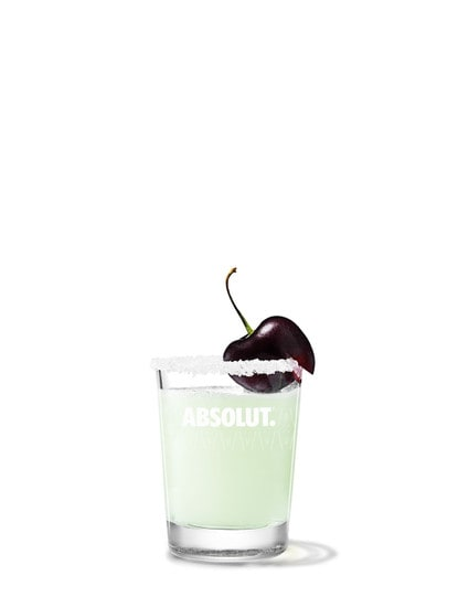 absolut cherry drop against white background