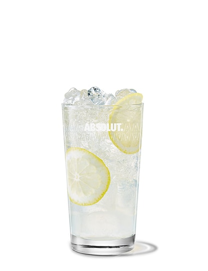 elderflower collins against white background
