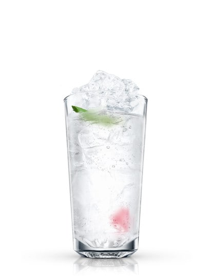 absolut raspberry reflection against white background