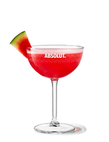 watermelon martini against white background