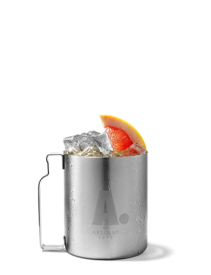 absolut grapefruit mule against white background
