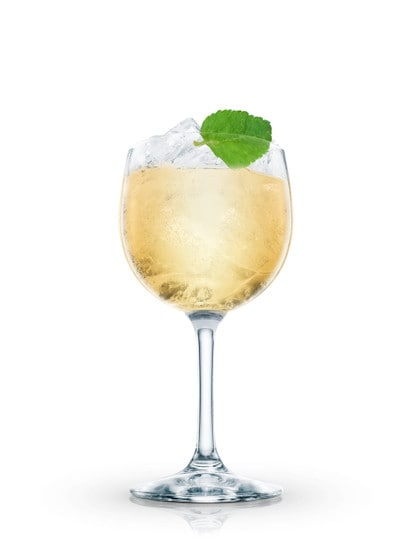 hugo cocktail against white background