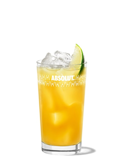 malibu and pineapple against white background