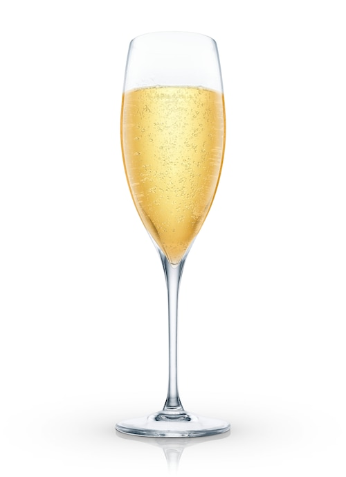 a glass of champagne against white background