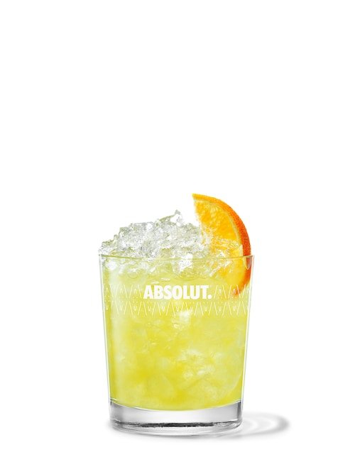 absolut mandrin crush against white background