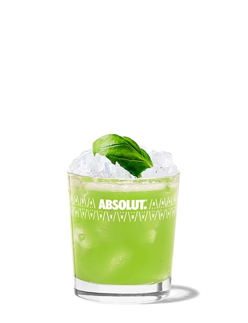 vodka basil smash against white background
