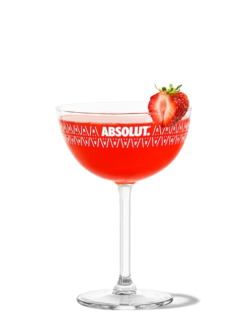 strawberry daiquiri against white background