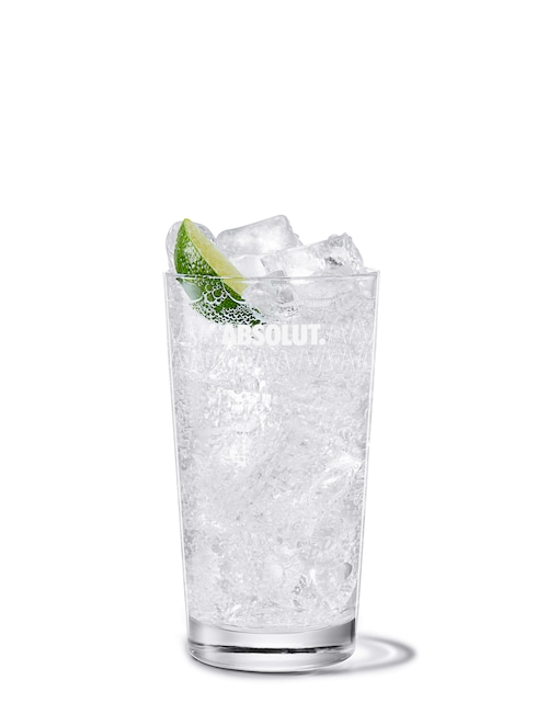 vodka tonic against white background