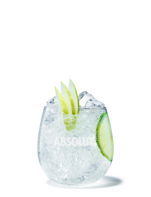 absolut pears soda against white background