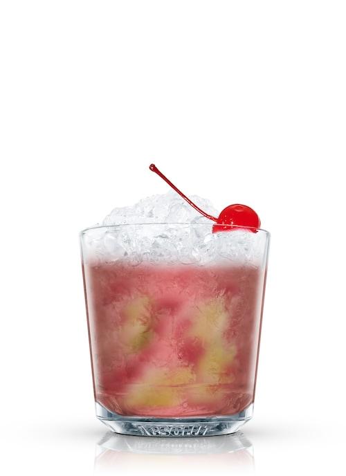 cherry caipirinha against white background