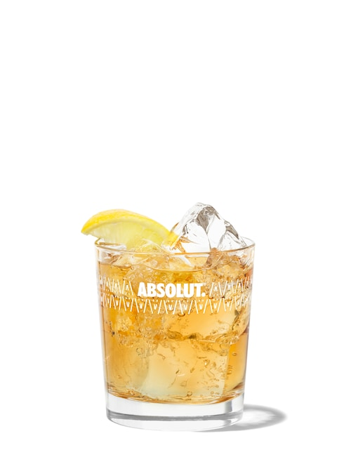whisky soda against white background