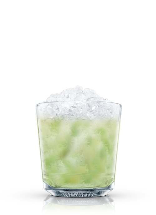 basil-mint mojito against white background