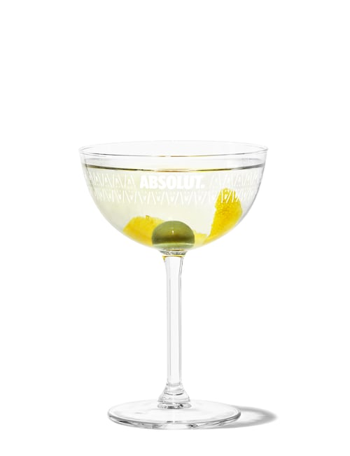 absolut vodka martini against white background