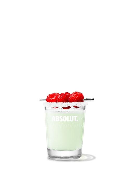 absolut raspberri drop against white background