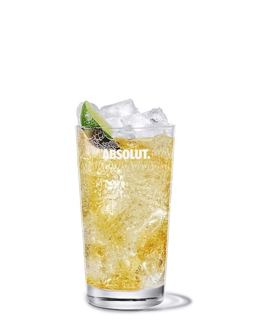 vodka ginger ale against white background