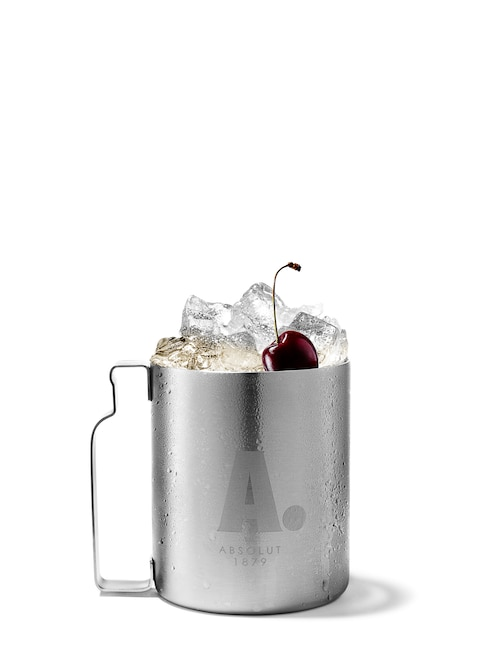 absolut cherry mule against white background