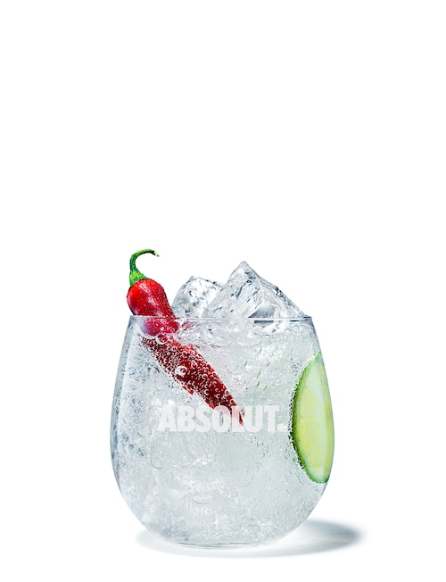 absolut peppar soda against white background