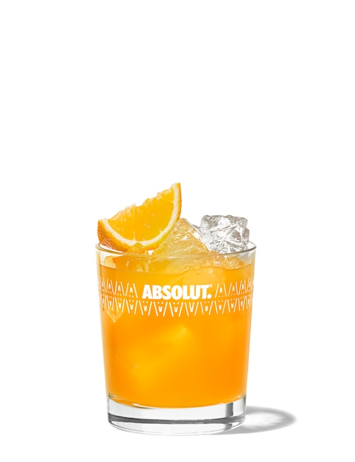 gin and orange against white background