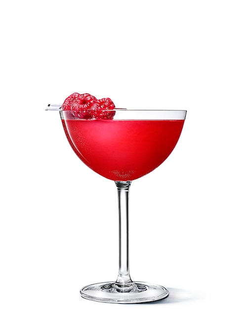 absolut raspberri chocolate martini against white background