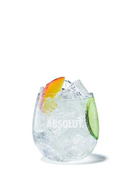 absolut apeach soda against white background