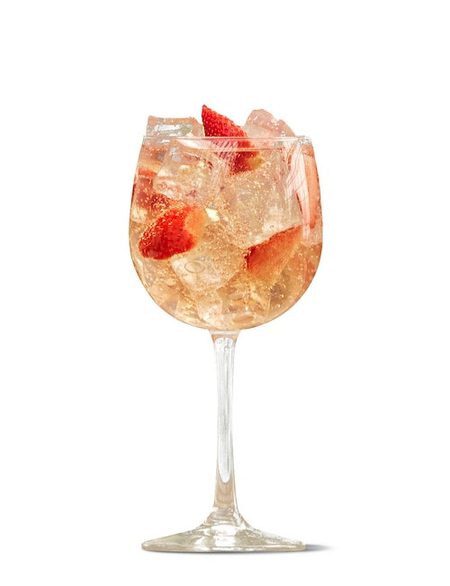 absolut juice strawberry spritz against white background