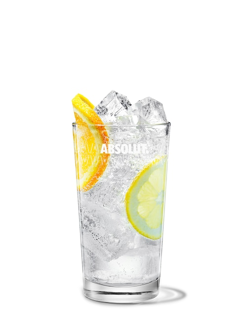 absolut mandrin collins against white background