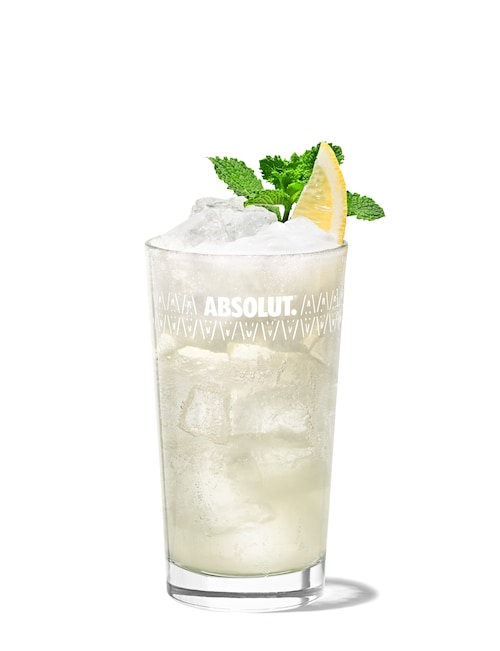 gin fizz against white background