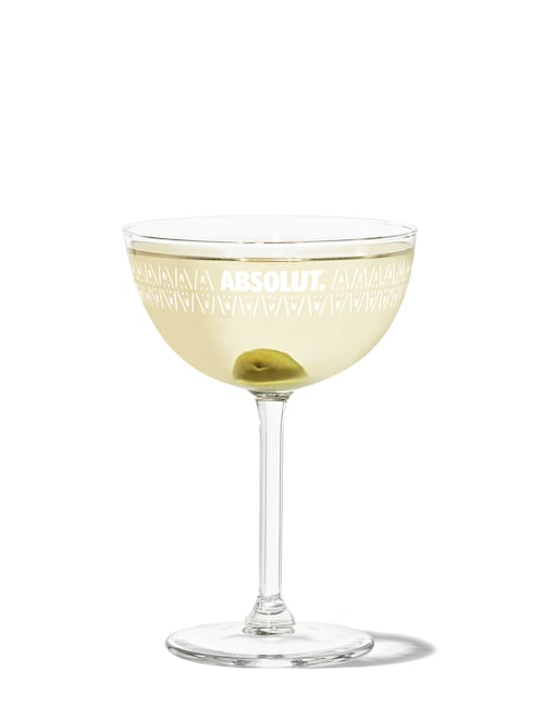 dirty martini against white background