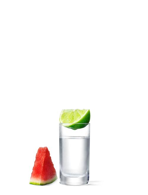 absolut watermelon shot against white background