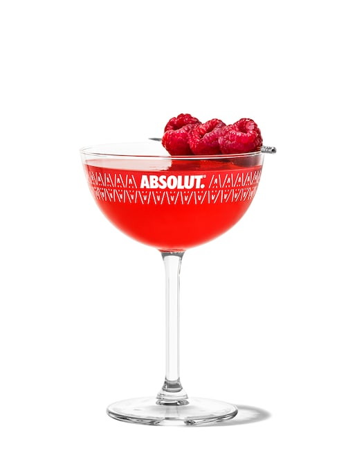 raspberry martini against white background