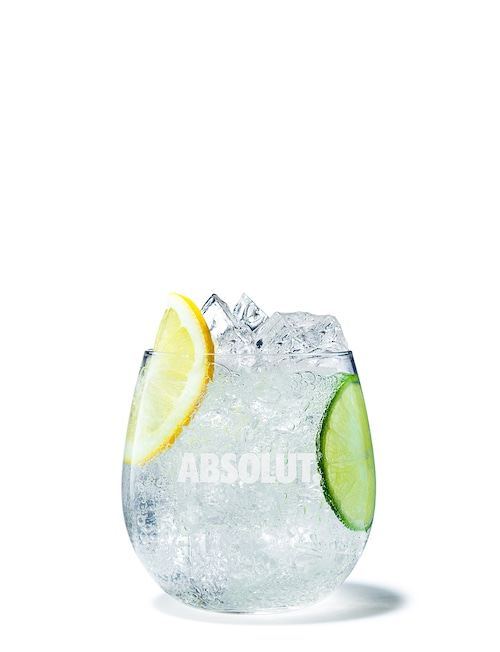 absolut citron soda against white background