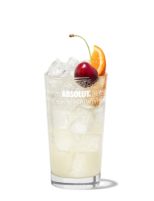 vodka collins against white background