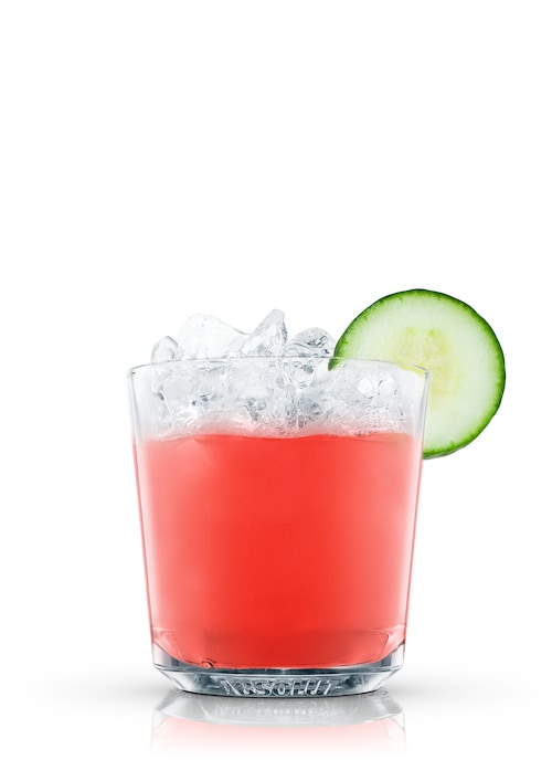 watermelon cucumber punch against white background