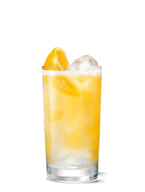 absolut fluffy orange juice  against white background