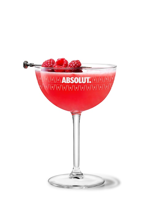 absolut raspberri martini against white background