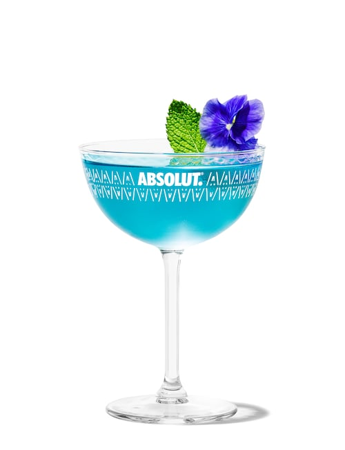 lotus flower martini against white background