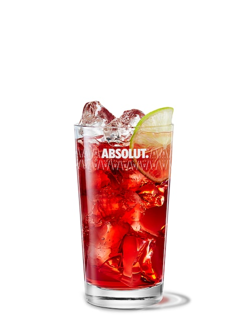 absolut hibiskus and cranberry juice against white background
