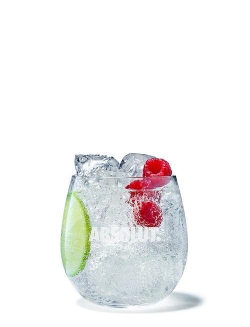 raspberry vodka tonic against white background