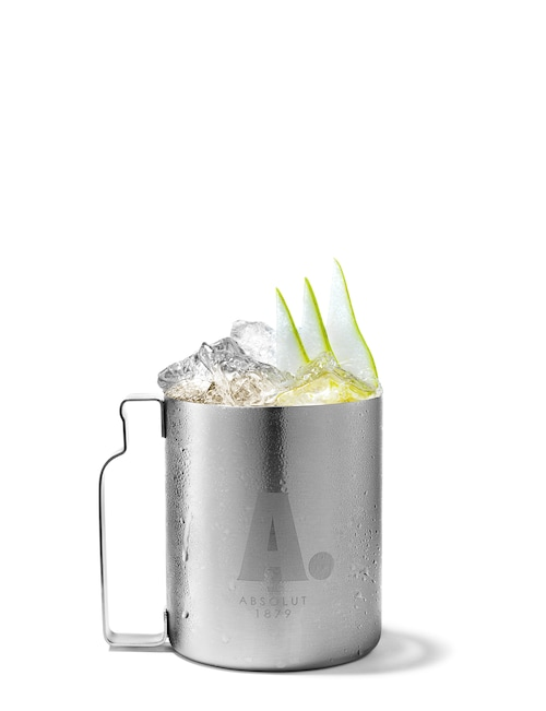 absolut pears mule against white background