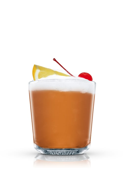 bourbon sour against white background