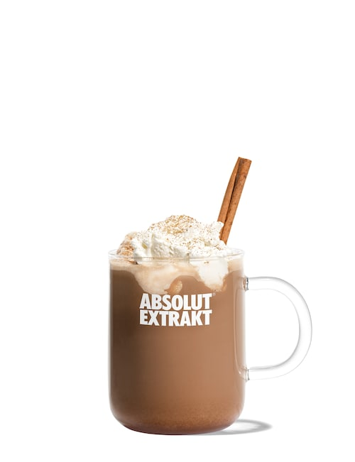 extrakt hot chocolate against white background