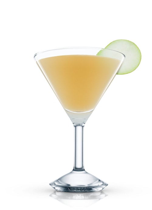 elderflower & pear martini against white background