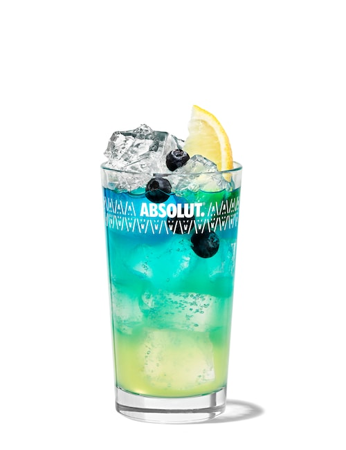 absolut blueberry fizz against white background