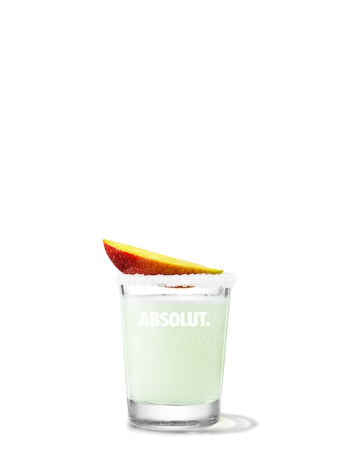 absolut mango drop against white background