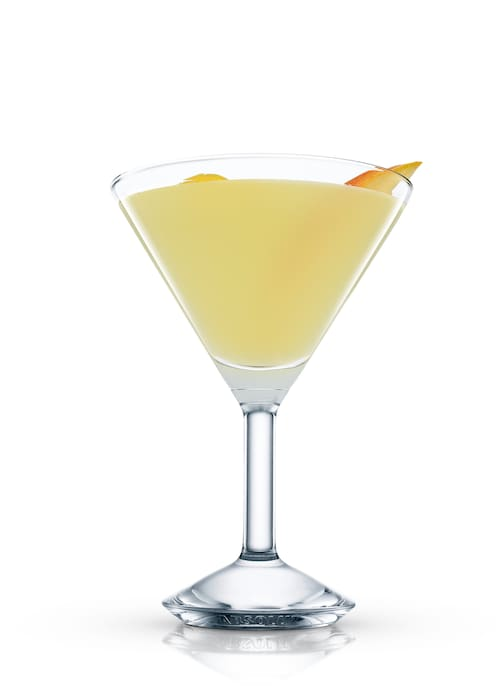 apricot mango martini against white background