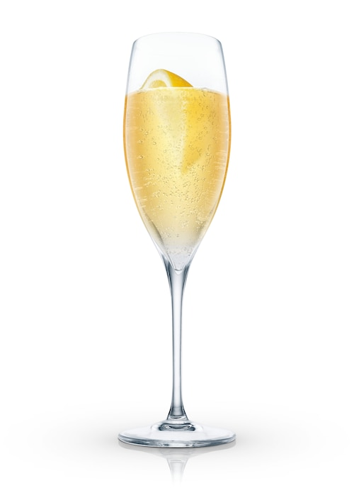absolut lemoncello bellini against white background
