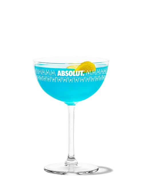 blue cosmopolitan against white background