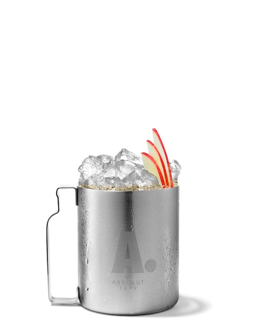 absolut apple mule against white background