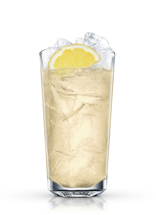 ginger-lemonade highball against white background